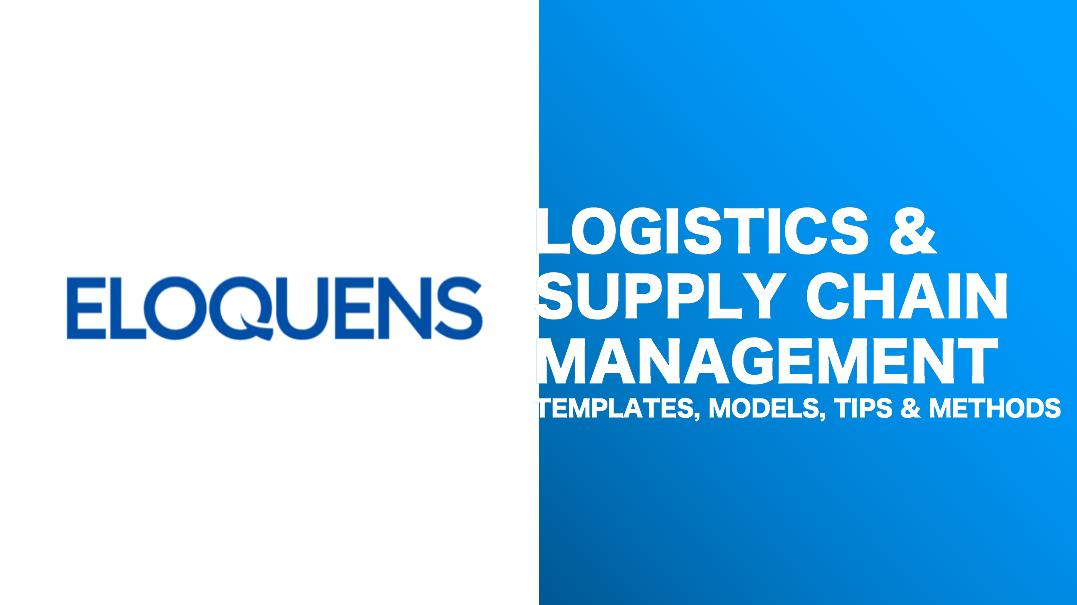 Logistics & Supply Chain Management Tools, Templates and